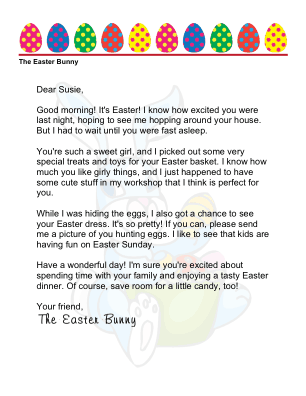 This Printable Letter From The Easter Bunny To A Little Girl Is