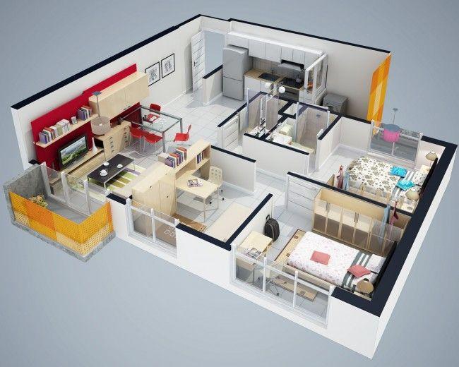 planos de casas 3d de una planta