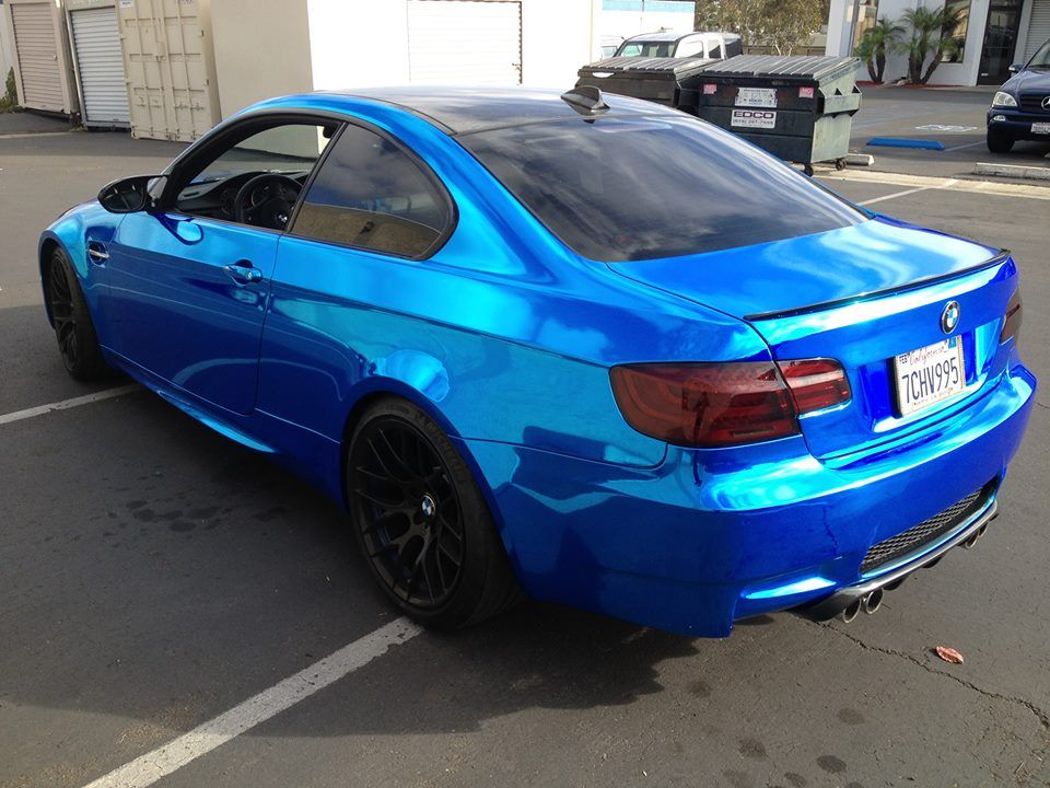 Awesome blue vinyl wrap done on a BMW in San Diego. San