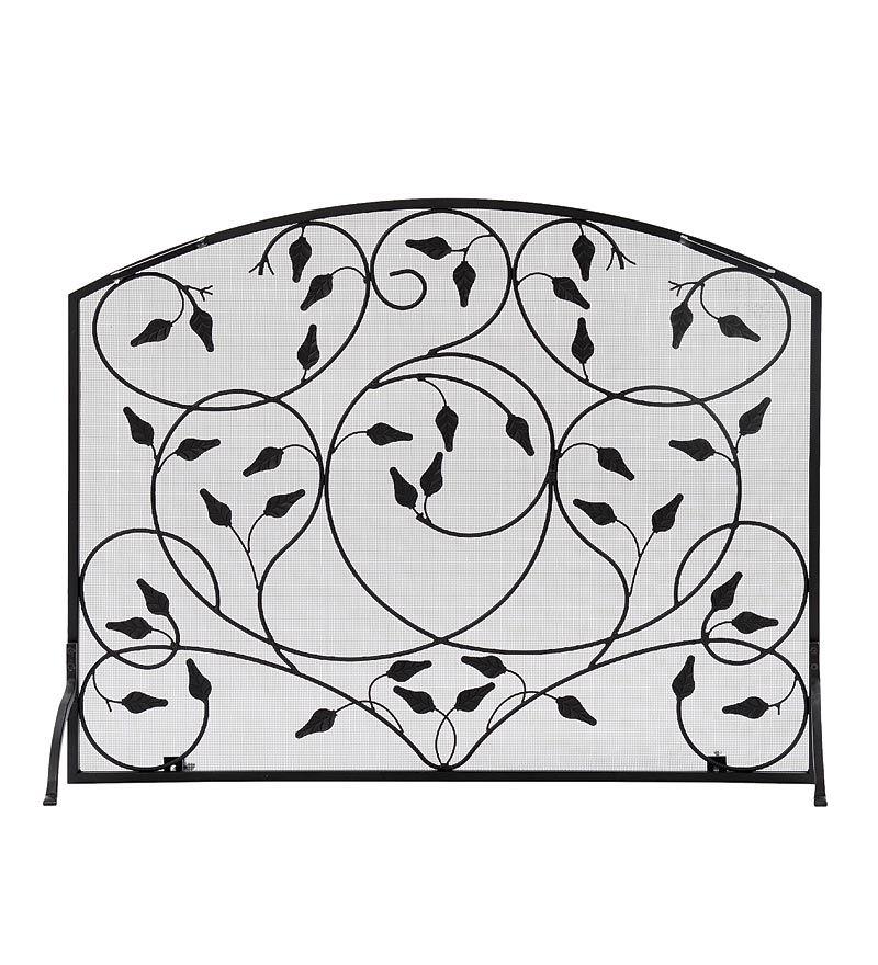 Wrought Iron Leaves Single Panel Fireplace Screen   Fireplace ...