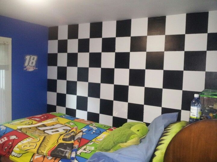 NASCAR themed bedroom with checkered flag wall. NASCAR themed bedroom with checkered flag wall   NASCAR   Pinterest