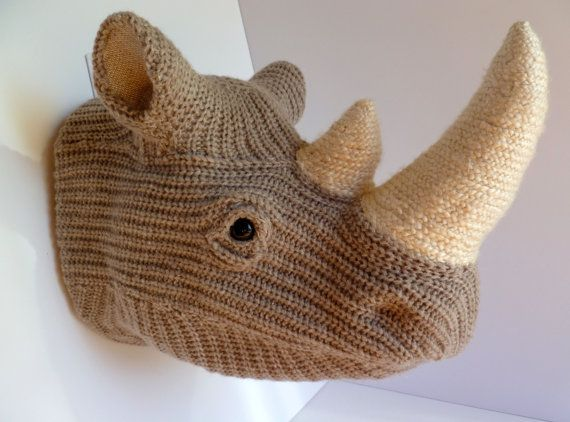 Handmade Faux Taxidermy -  Rhinoceros Head Wall Art - Home Decor - Paper Mache and Recycled Materials