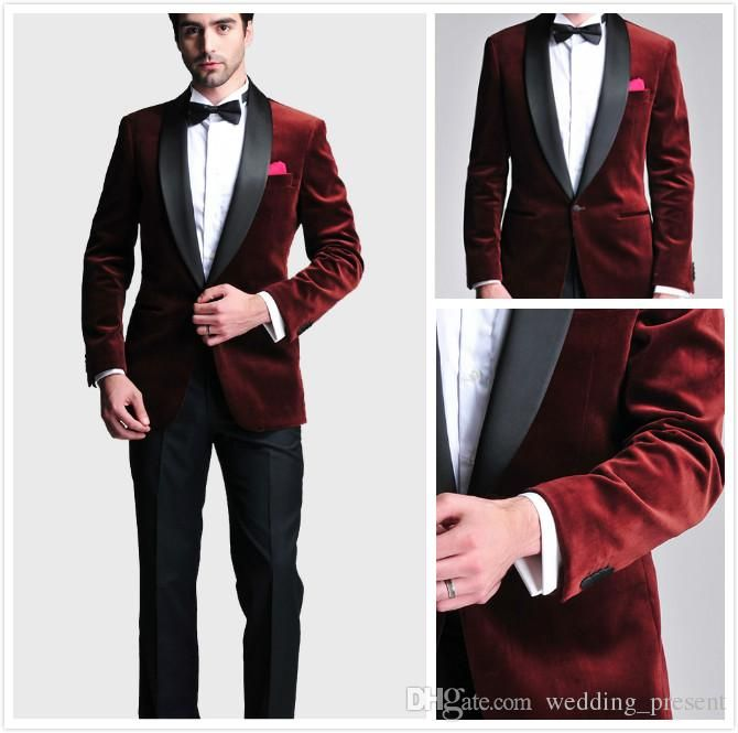 Burgundy Velvet Slim Fit 2016 Groom Tuxedos Wedding Suits Custom