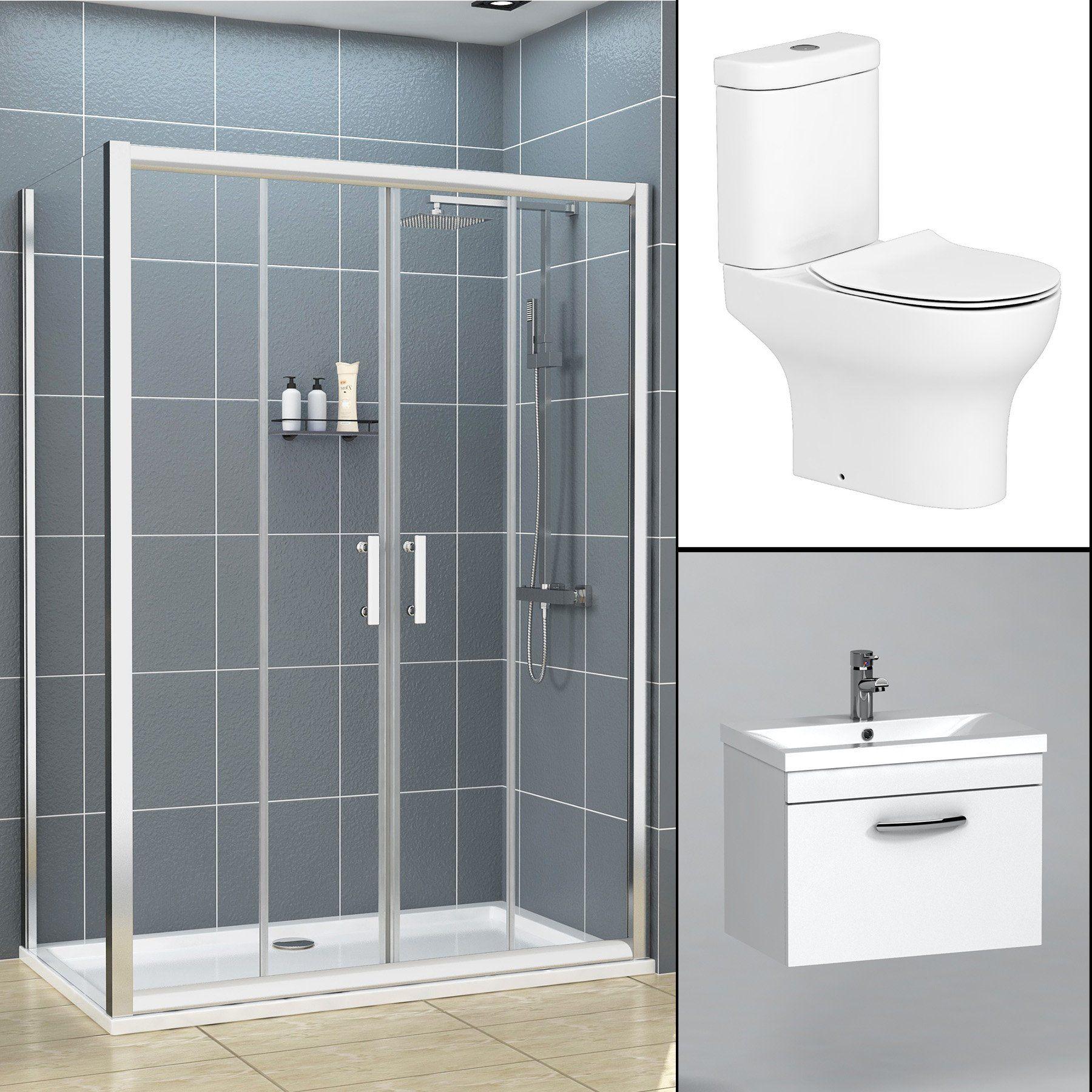 Double Door Sliding Shower Enclosure Suite With Breeze Toilet 500mm Basin Unit In 2020 Shower Enclosure 500mm Vanity Unit Basin Unit