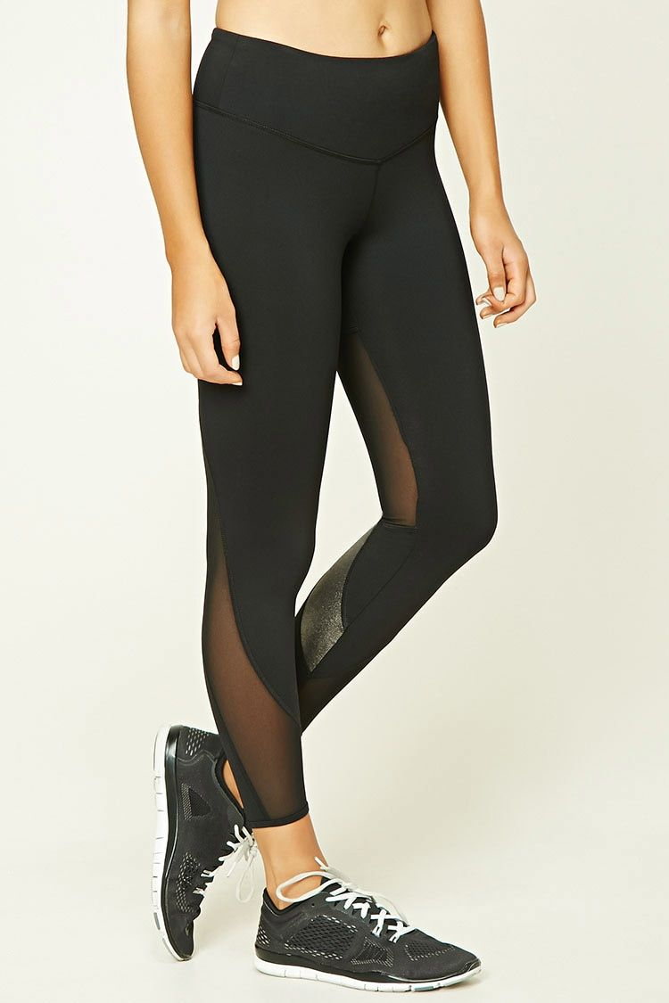 An athletic pair of knit capri leggings featuring a back