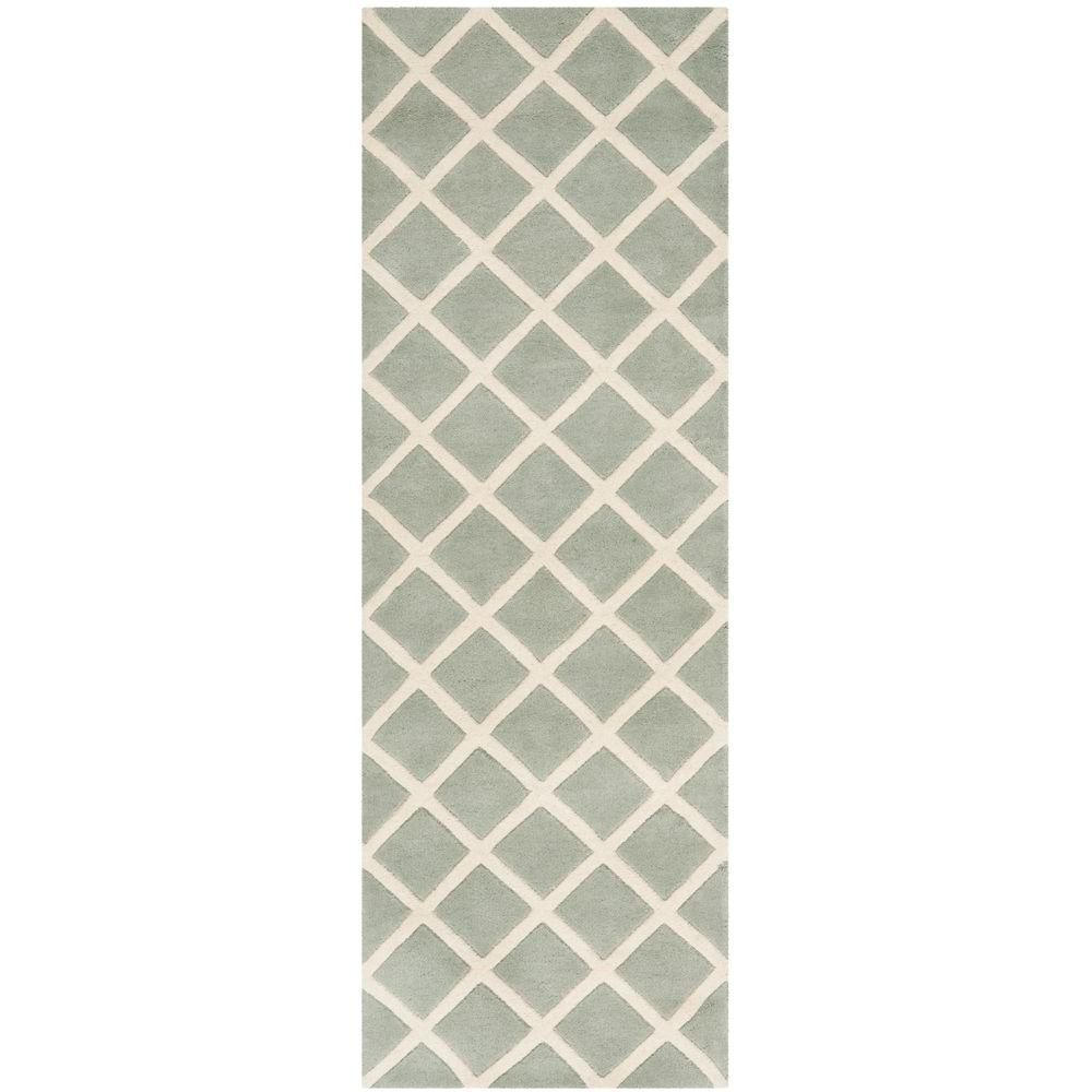 Safavieh Chatham Grey Ivory 2 Ft X 11 Ft Runner Rug Cht718e 211 Wool Area Rugs Rug Runner Rugs