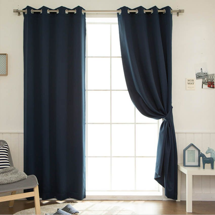 Navy Solid Blackout Curtains Eyelet Grommet Nursery Curtains 102 W X 92 H Pair Modern Window Treatments Nursery Curtains Blackout Curtains