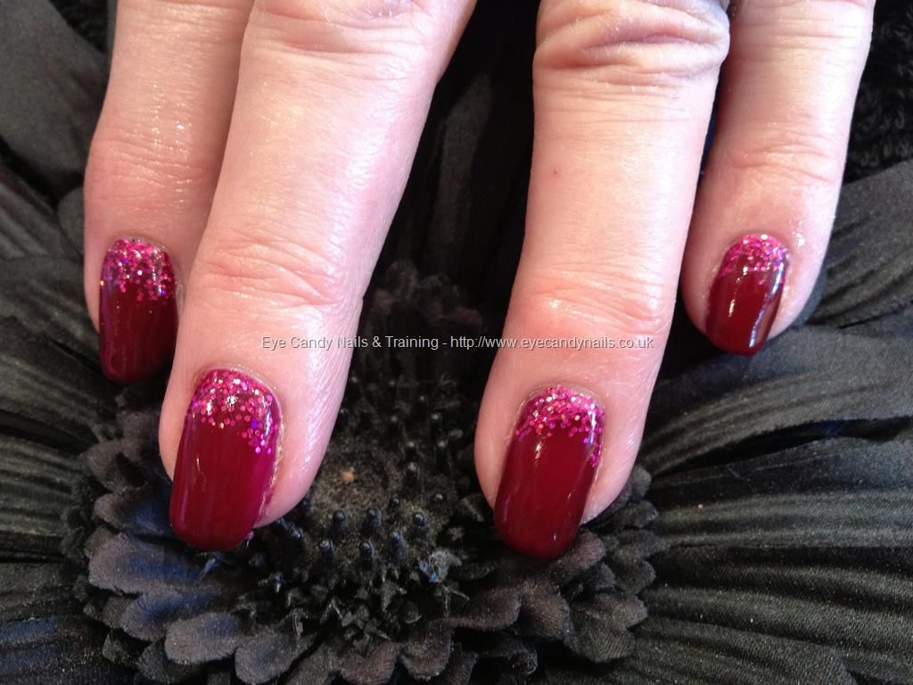 Deep red gel overlay with glitter fade | Finger Paint + Toes ...
