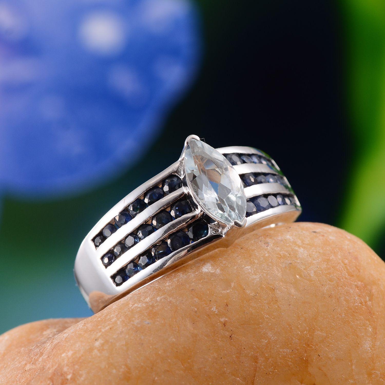 Espirito Santo Aquamarine and Kanchanaburi Blue Sapphire Ring in Platinum Overlay Sterling Silver (Nickel Free)