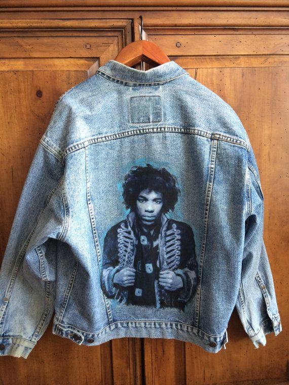 Hand Painted Denim Jacket W Jimi Hendrix Blue By