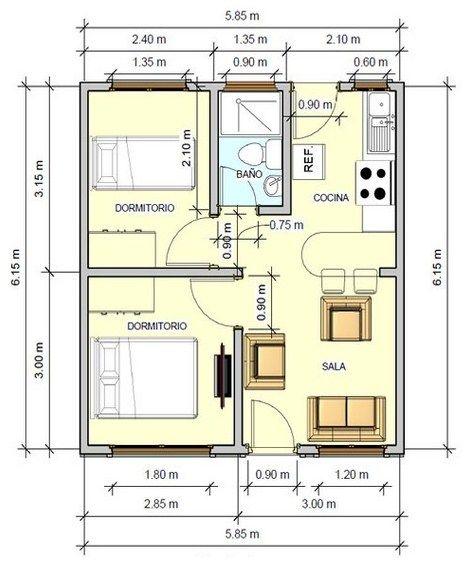 Plano de casa de 6 x 6 m house planos de casas casas for Apartamentos pequenos planos