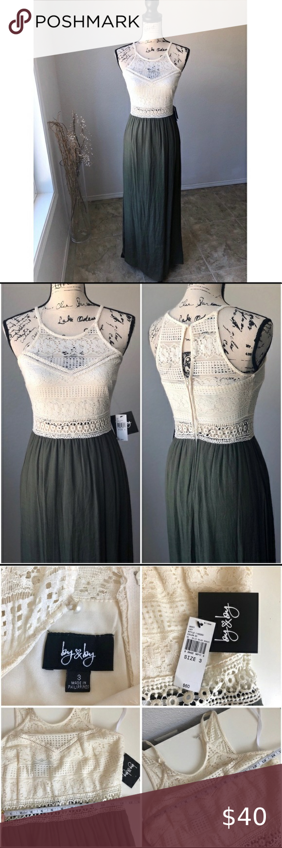 Spotted while shopping on Poshmark: By & By Maxi Dress NWT Crochet Green Boho 3! #poshmark #fashion #shopping #style #by & by #Dresses & Skirts