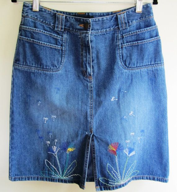c67852cf9 Jean Skirt Hand Embroidered Floral Shashiko Blue Denim Upcycled Boutique -  Size Medium