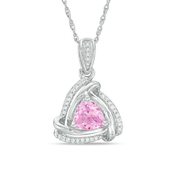 Zales 6.5mm Lab-Created White Sapphire and Diamond Accent Frame Pendant in Sterling Silver Ewpak
