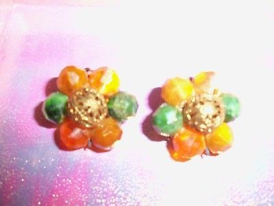 Antique/old unusual earring green golad orange and clip on earing.  https://t.co/oPV9MwbFak https://t.co/EwC1yaZzfi