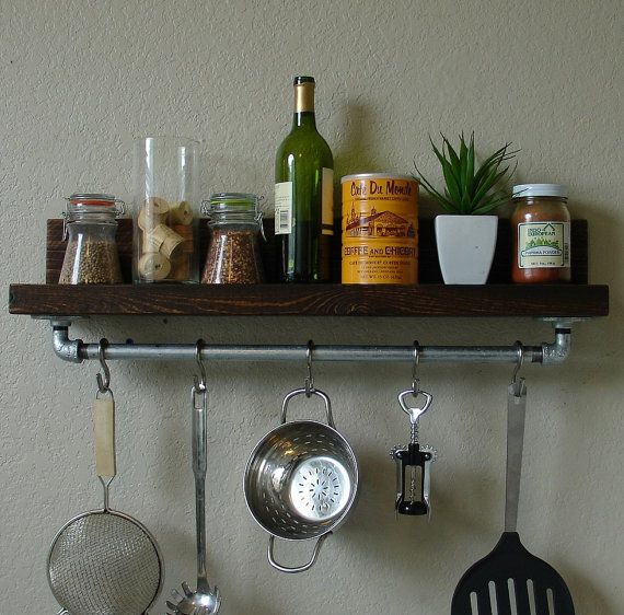 Simply Industrial Rustic Kitchen Spice Rack Shelf W 24 Pot Rack