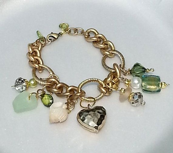 Gold Charm Bracelet with Genuine Sea Glass by JaneCandace on Etsy