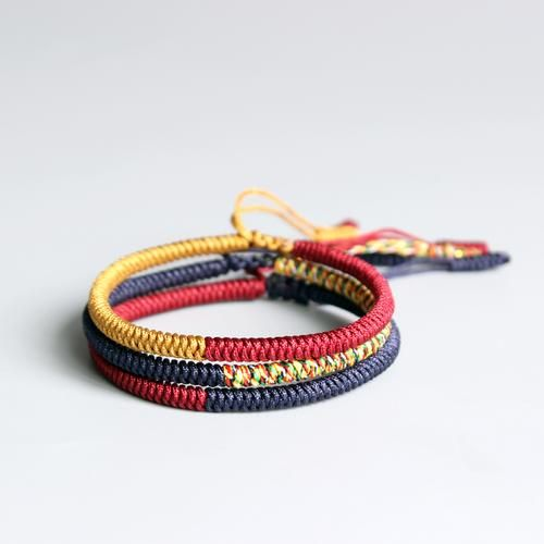 1006f31f1f Bring PEACE with this 3 pc Multi-Colored Tibetan Buddhist Braided Lucky  Rope Bracelet Set