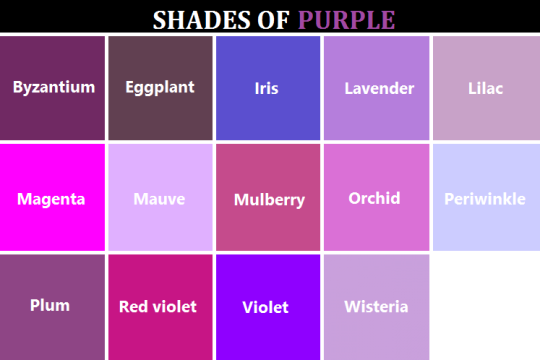 Shades Of Purple Color Names