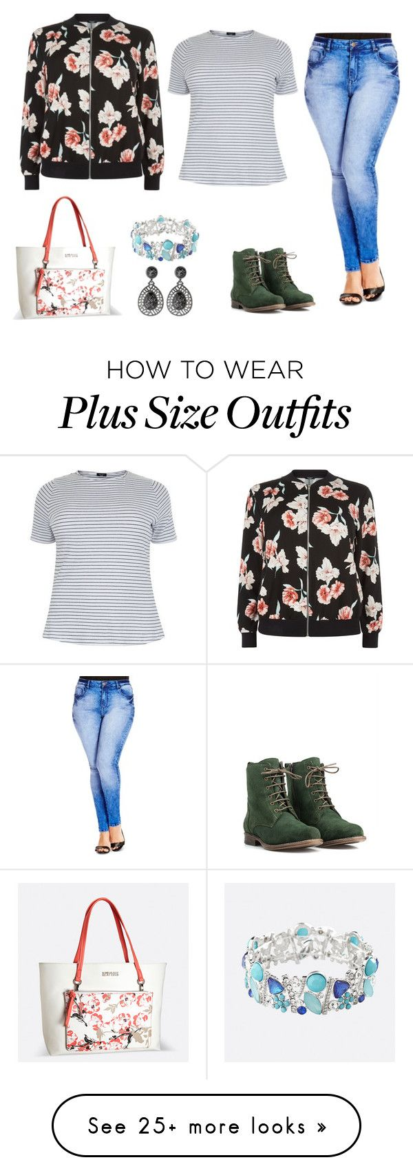 """""""Be happy with your size"""" by fashiongirlprox on Polyvore featuring City Chic, New Look, JJ Footwear and Avenue"""
