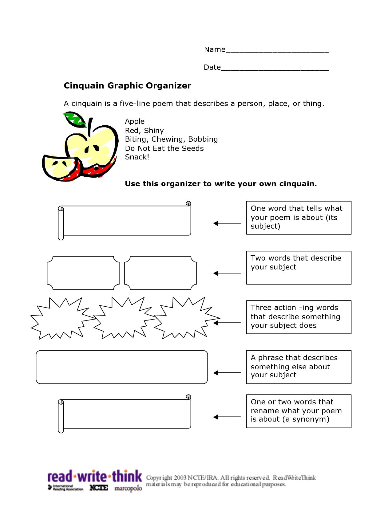 Cinquain Worksheet Cinquain Worksheet