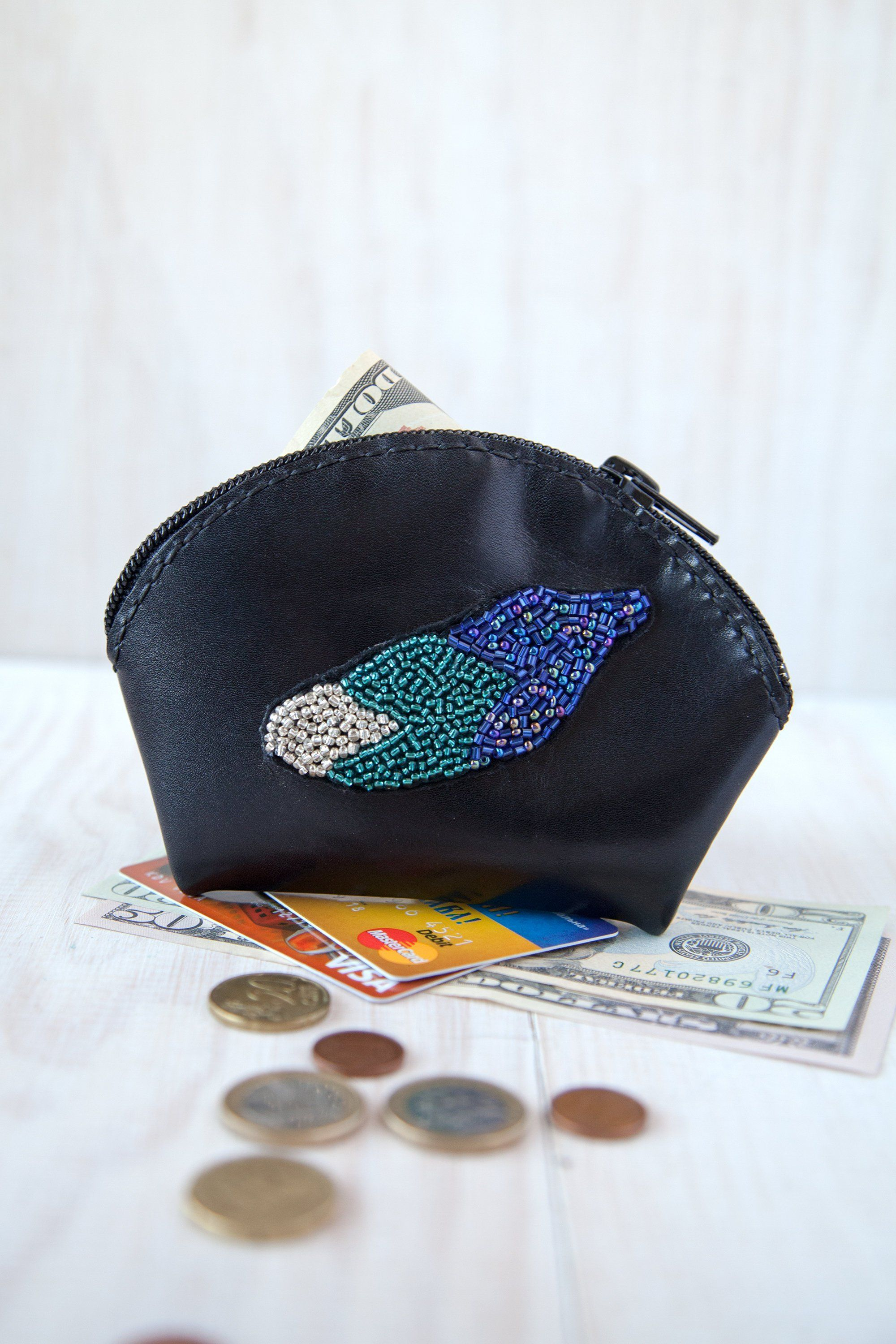 Leather card holder Black coin purse | #EtsyHandmade Styles! PIN FOR