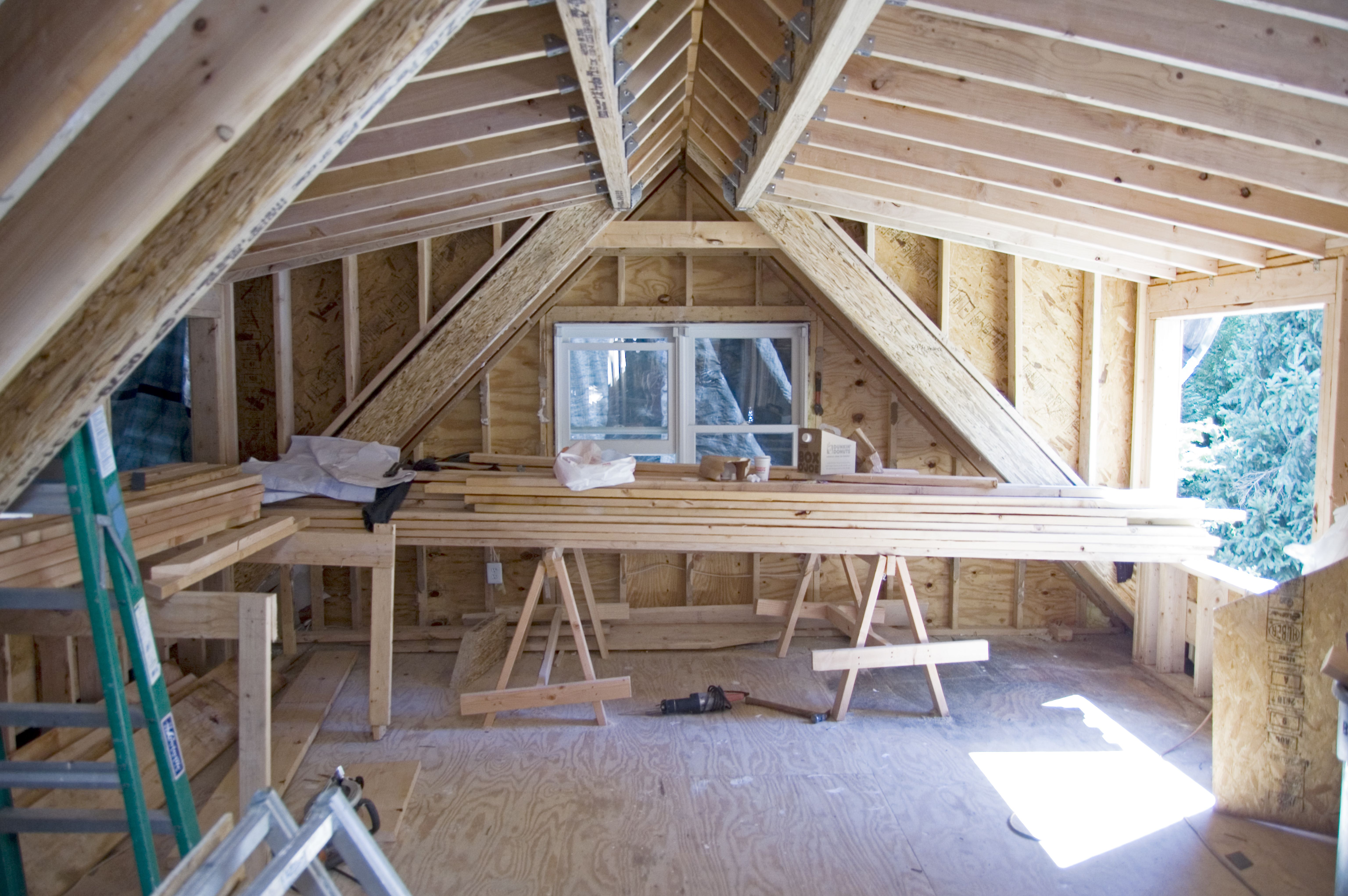Shed Dormer Framing for Driveway Side Bedroom | Dachausbau ...