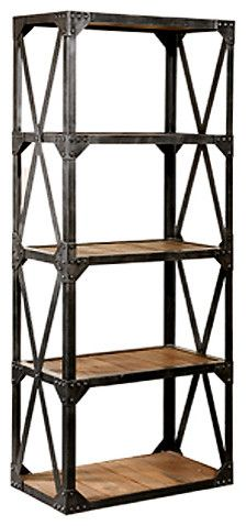 Superb Metal And Wood Bookcase   Bookcases Cabinets And Computer Armoires   Hudson  Goods For Either Side