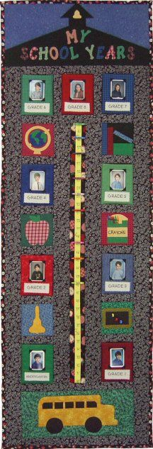 My School Years Growth Chart Quilt Pattern http://www.victorianaquiltdesigns.com/VictorianaQuilters/PatternPage/MySchoolYears/MySchoolYears.htm #keepsake #backtoschool #quilting