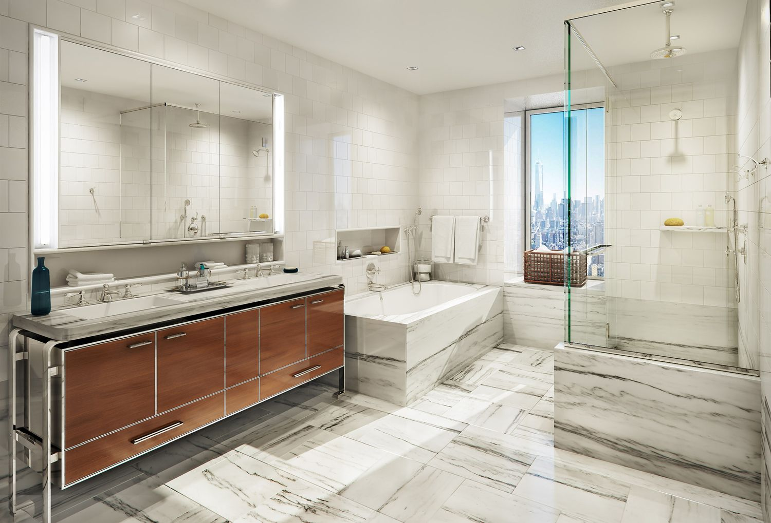 The five-fixture master bathrooms feature floor-to-ceiling marble ...