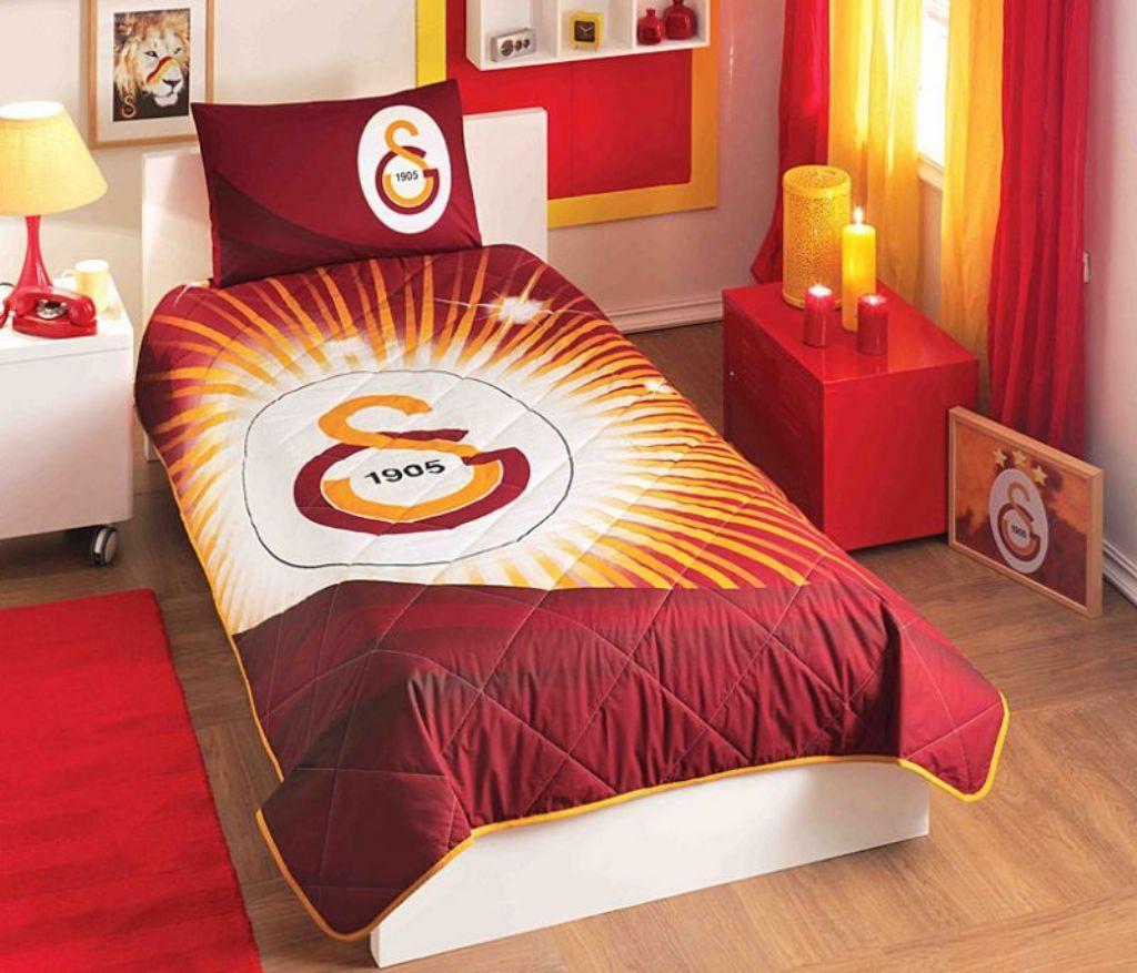 Tac Galatasaray Yildiz Logo Cift Kisilik Nevresim Takimi Cazip
