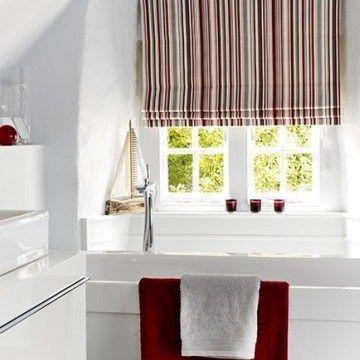 City Cherry Stripy Roman Blind Bathroom