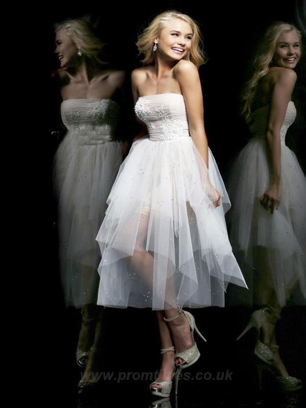 Strapless Sleeveless Asymmetrical White Prom/Cocktail Dresses CD0821