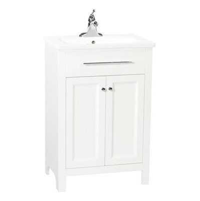 Foremost Madison White Integral Bathroom Vanity With Vitreous China Top  24 In X 16