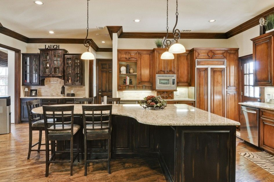Entrancing Dark Wood Finish Kitchen Island Marble Top With Distressed Paint  Finish Also L Shaped Kitchen