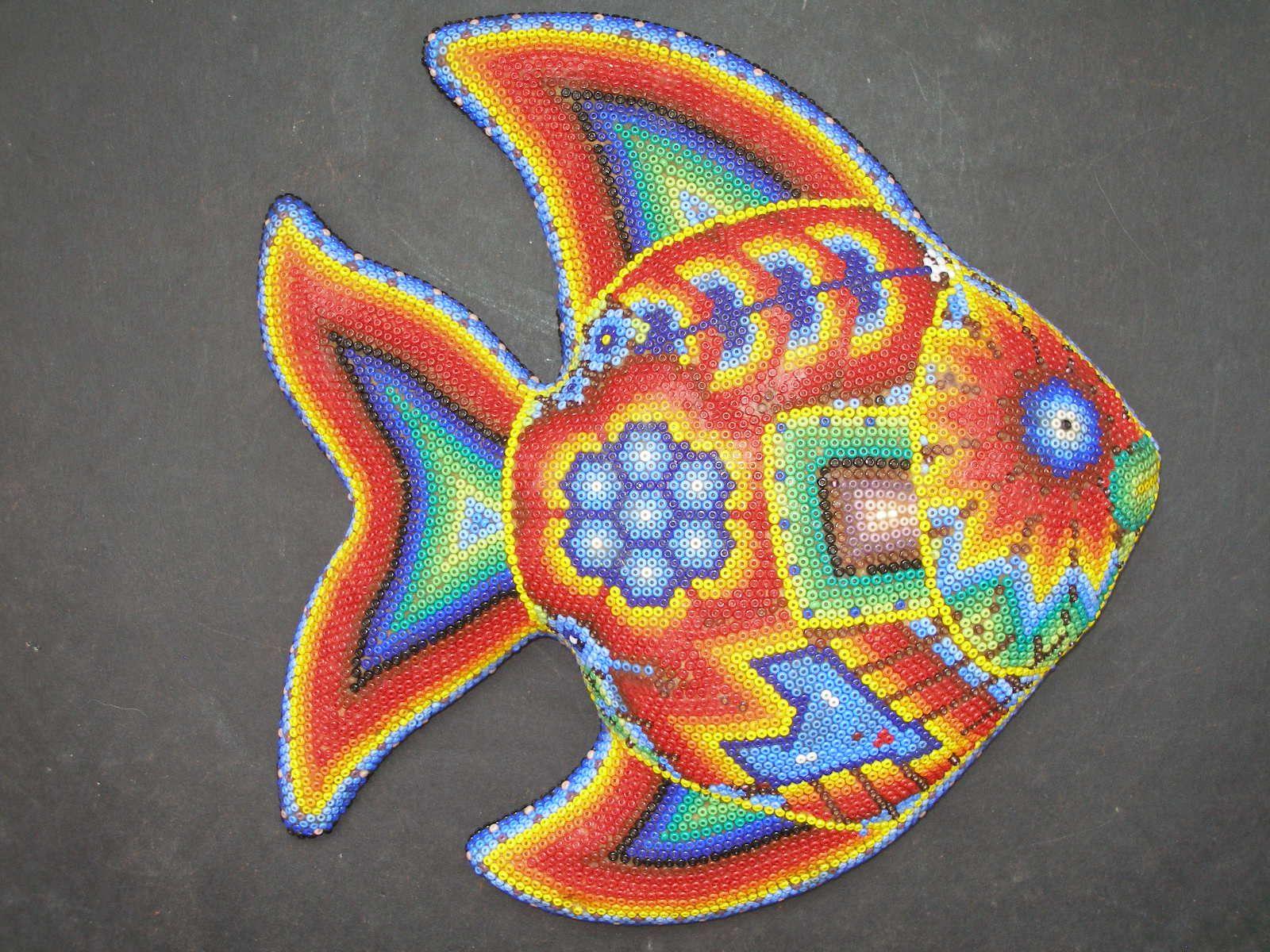 Mexican art huichol clay fish latin mexican folk art for Fish art and craft