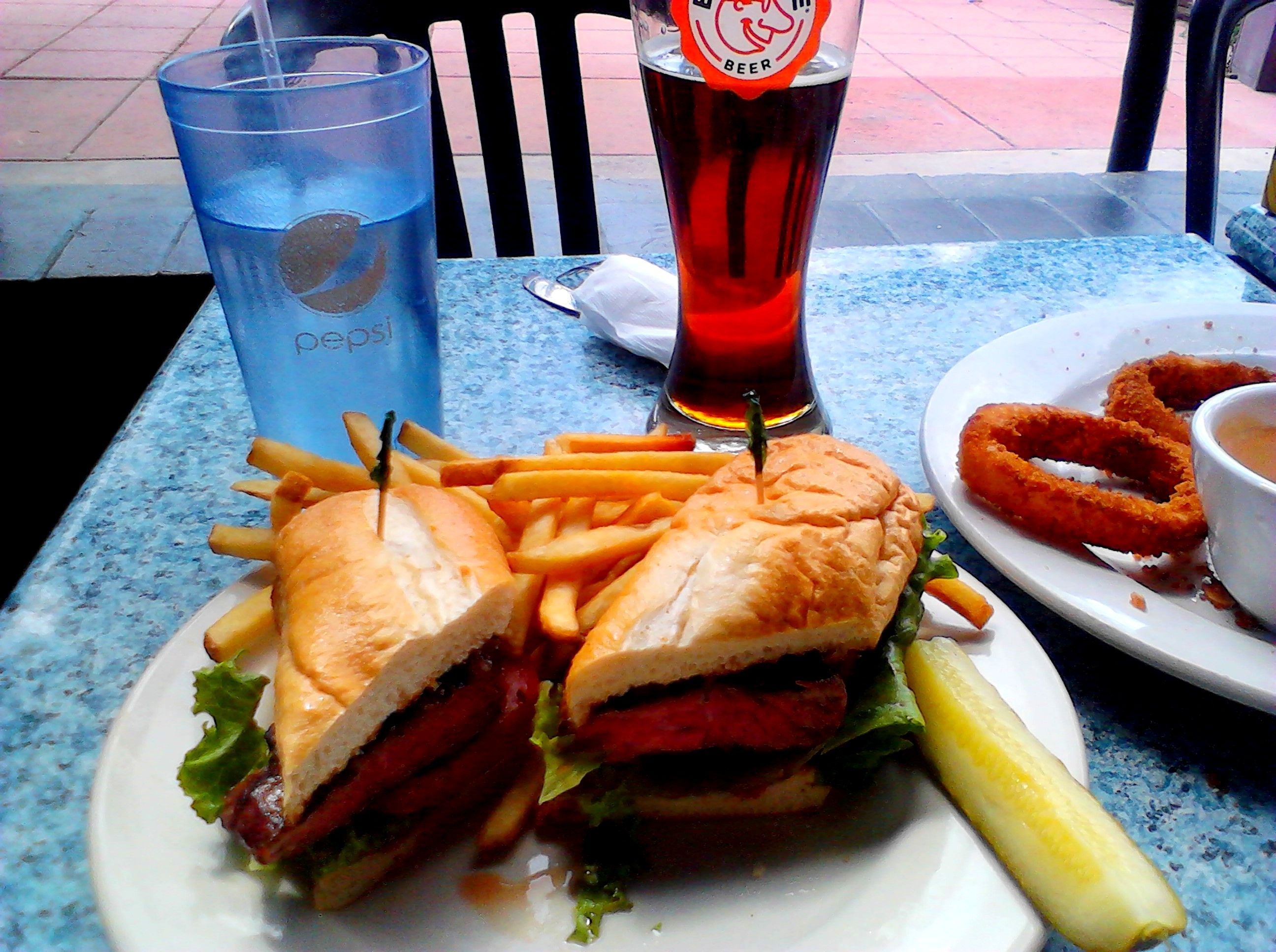 Lunch - Governor's Park NY Steak Sandwich w/ a Big Nose Red Ale
