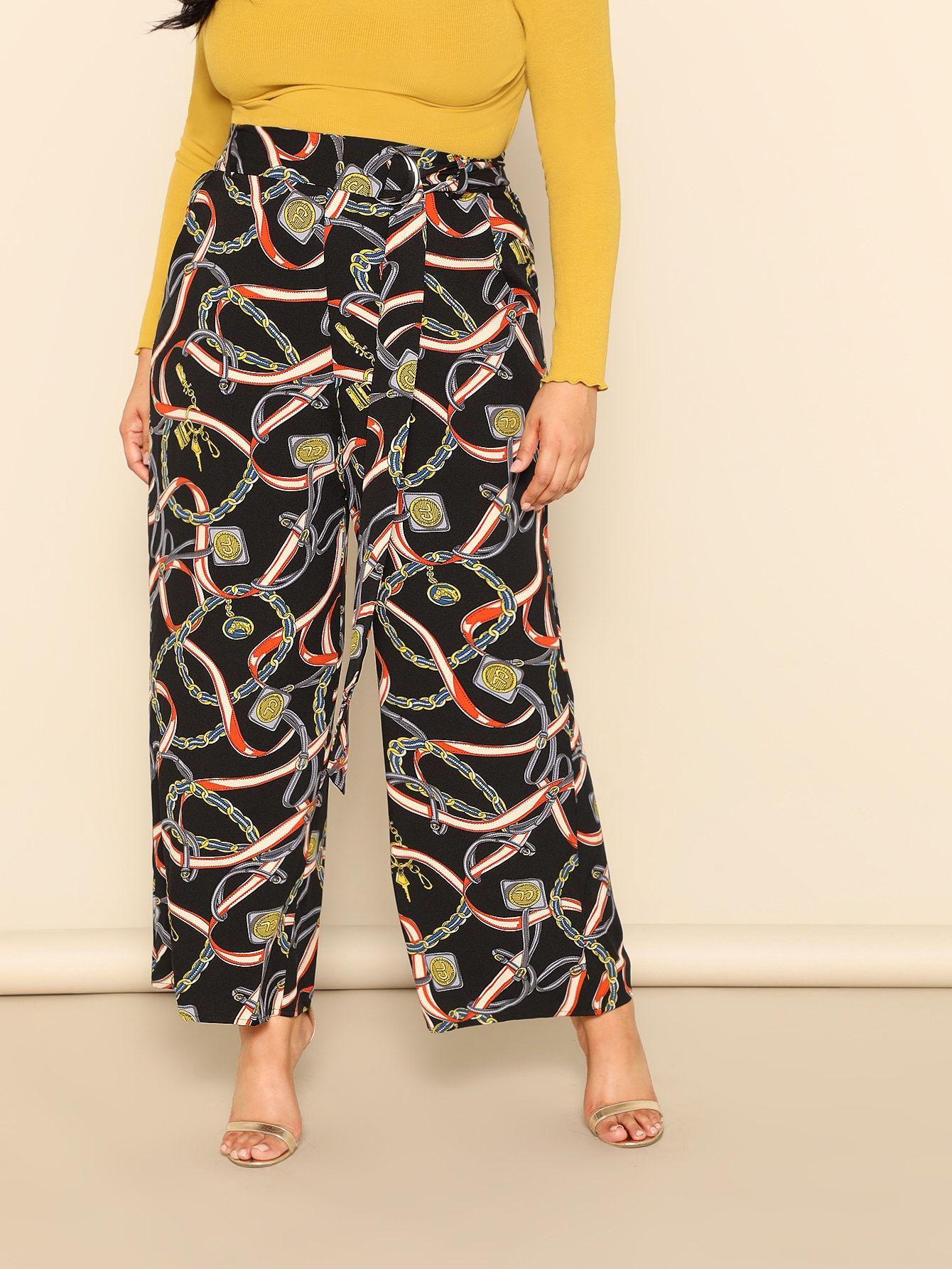 05f543f484 Shein Plus Chain Print Wide Leg Pants With Belt in 2019 | pontalon ...