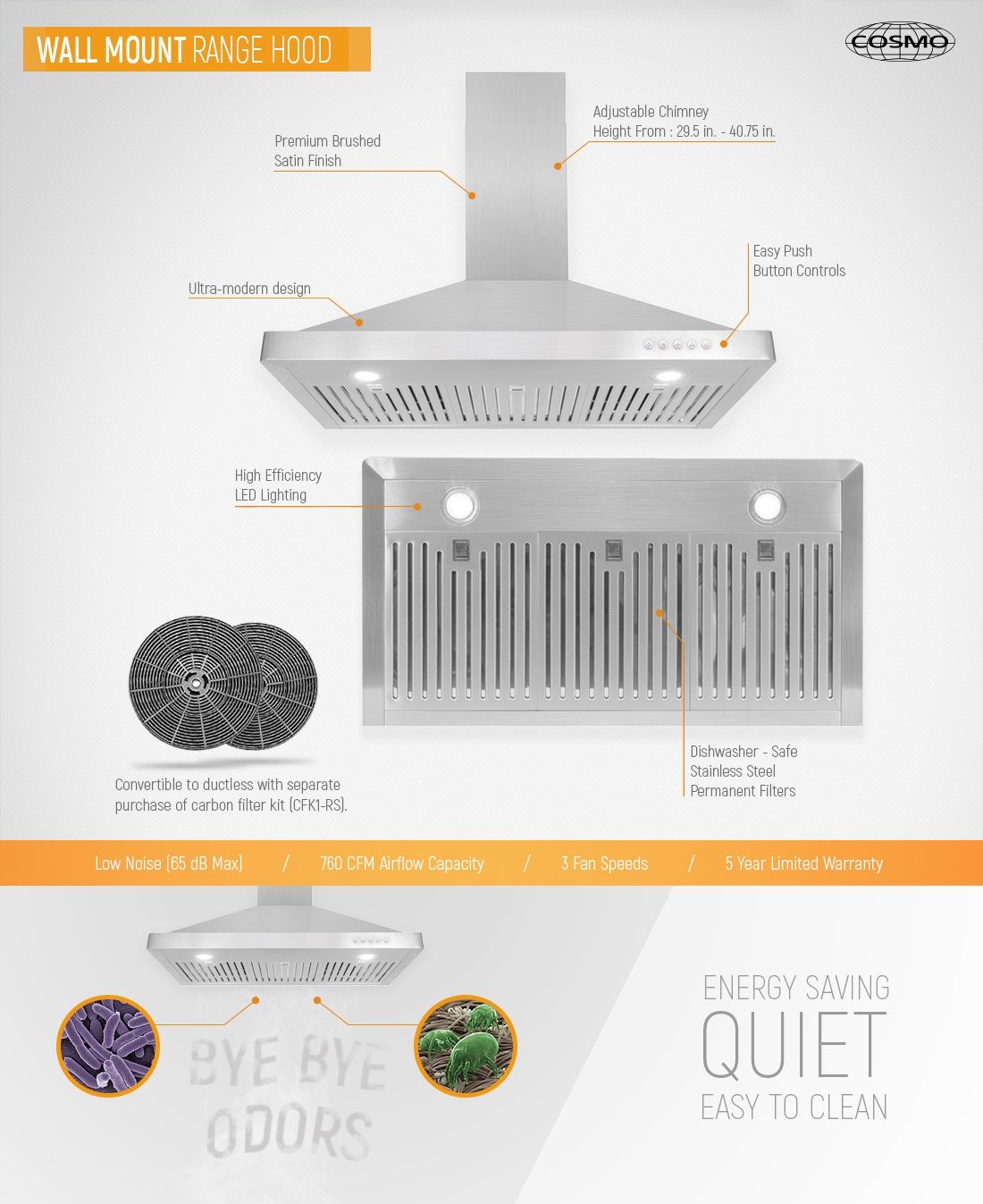 192 00 Cosmo 36 In Ducted Wall Mount Range Hood In Stainless Steel With Led Lighting And Permanent Filters Wall Mount Range Hood Range Hood Ducted Range Hood