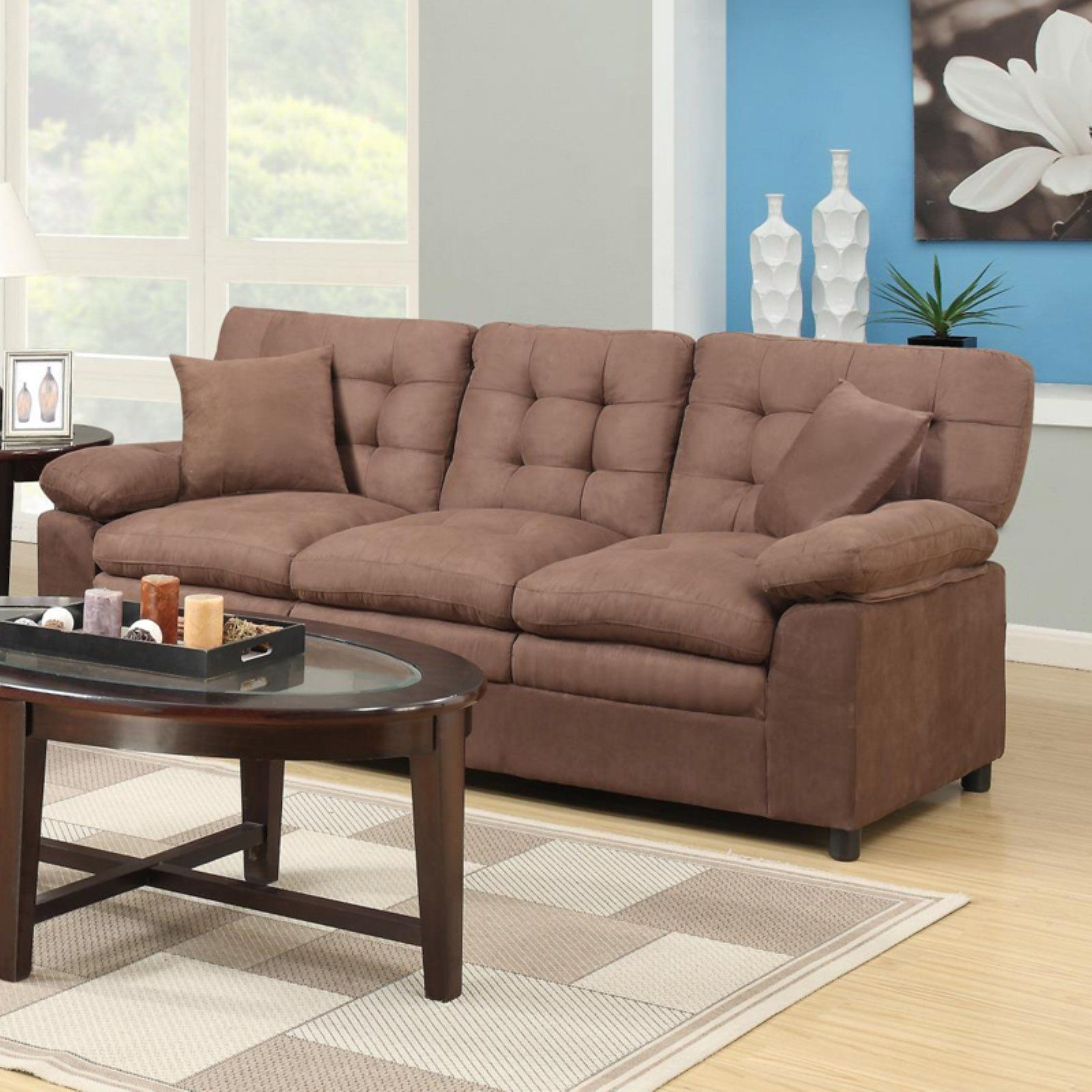 Home Source Industries Buchannan Microfiber Sofa Brown