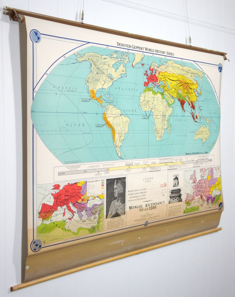 Classroom Pull Down World Map.Vintage 1960 S World History Pull Down Classroom Map Mongol