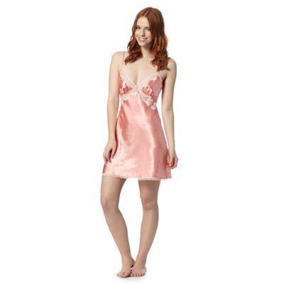 Presence Peach satin lace chemise- at Debenhams.com