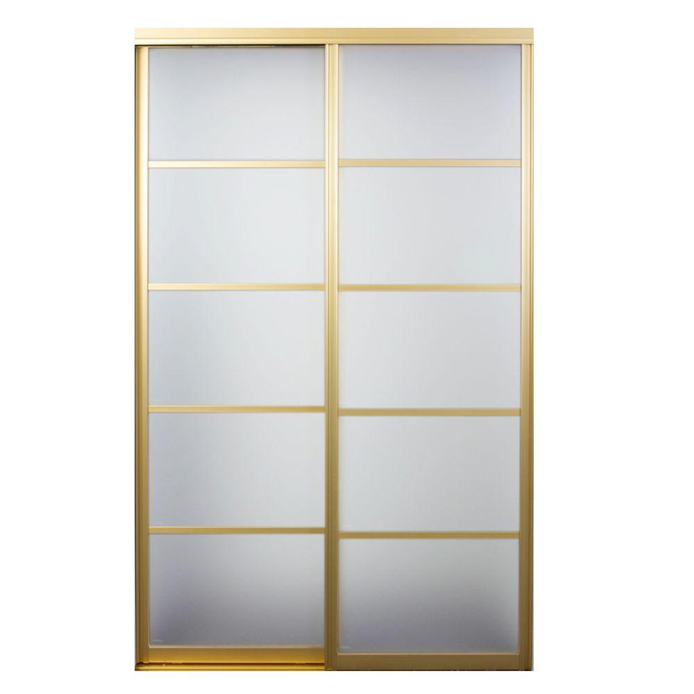 Contractors Wardrobe 84 In X 96 In Silhouette 5 Lite Satin Gold Aluminum Frame Mystique Glass Interior Sliding Door Si5 8496sg2x Contractors Wardrobe Sliding Doors Sliding Glass Door