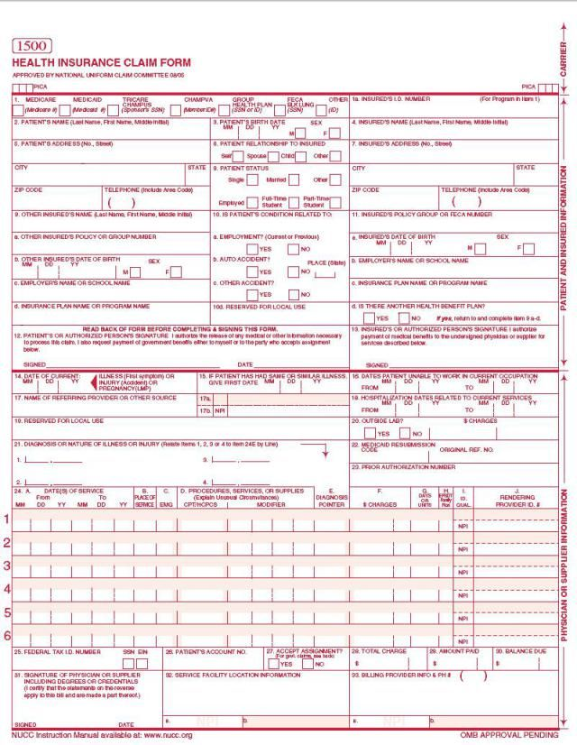 Cms 1500 Claim Form With Images Medical Claims Health