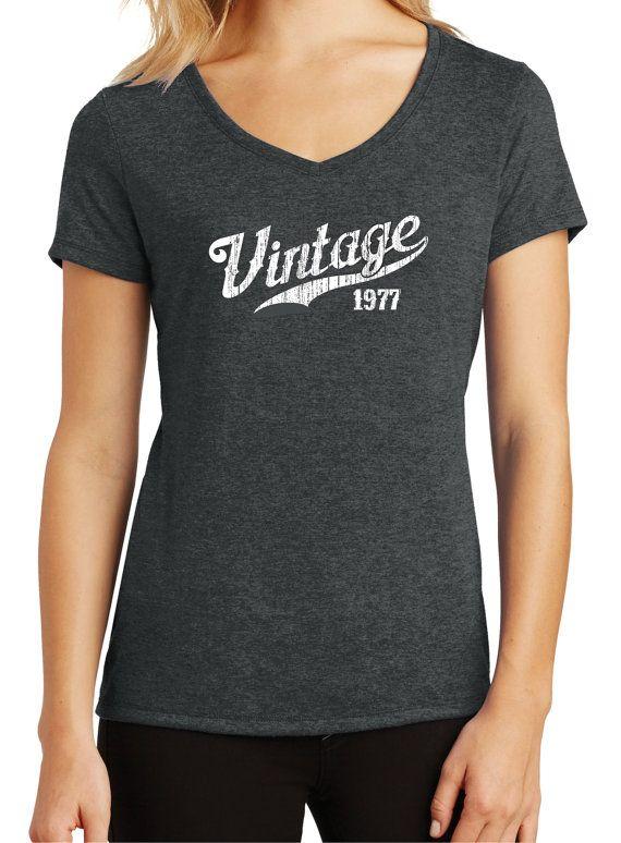 Womens Tri Blend 40th Birthday T Shirt 1977 Born In By BluYeti