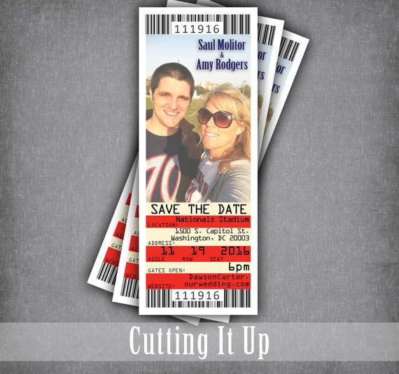 baseball save the date ticket magnet tickets sports wedding theme