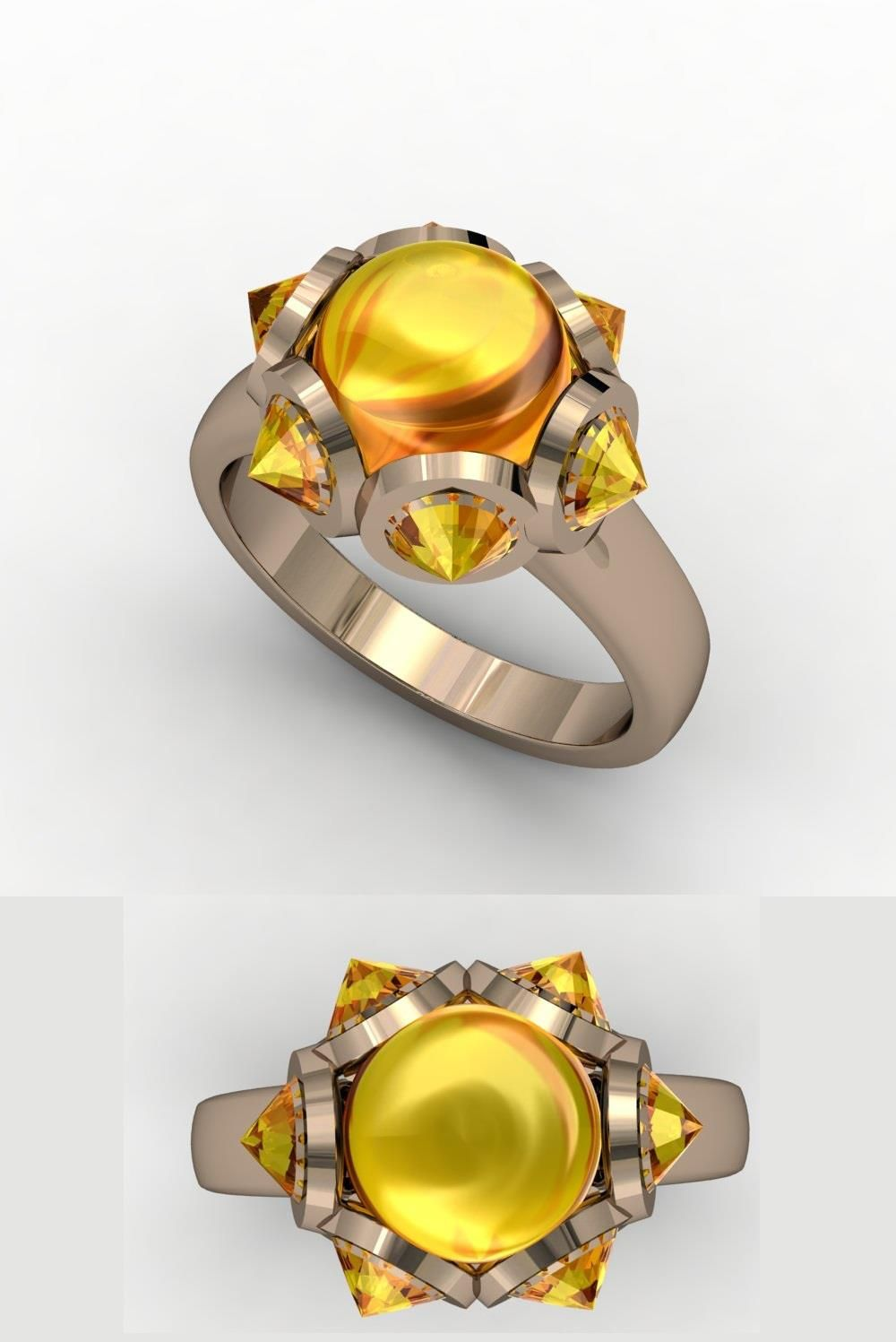 Wayward Sun Ring with Orange Sapphires in18k Rose Gold
