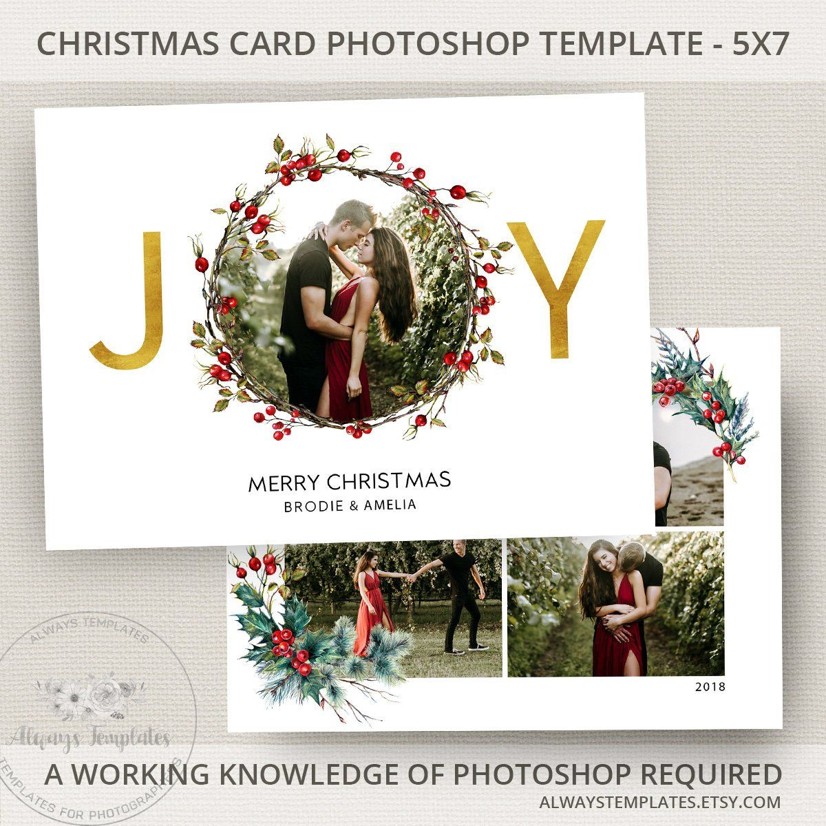 Joy Photo Christmas Card Template, Joy Christmas Card Template ...