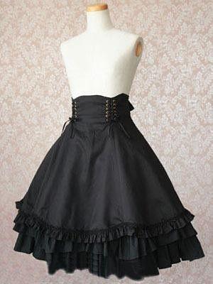 Black Ruffled Bottom Lolita Skirt Steampunk For Ladies - black skirt halloween costume ideas