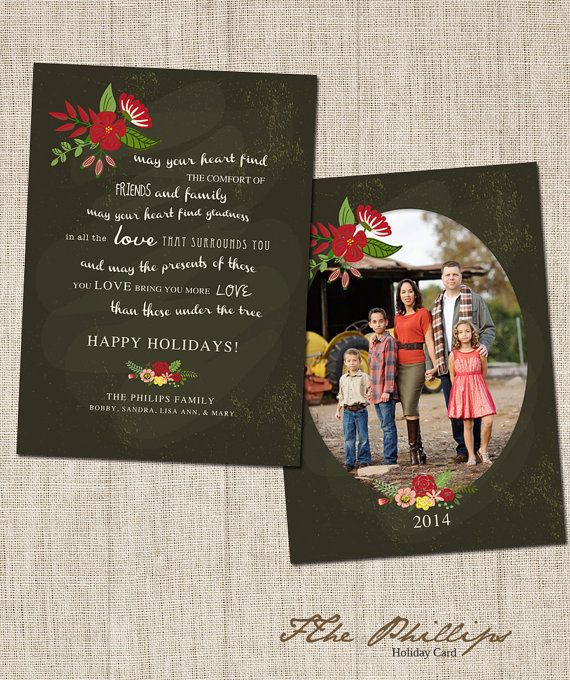Christmas card templates  Holiday Card Template by frankandfrida on Etsy, $11.00
